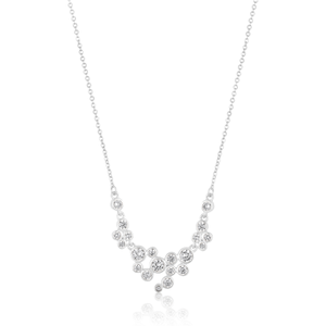 Sterling Silver Zirconia Bezel Set Bubble Necklet