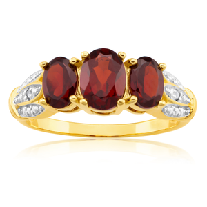 Yellow Gold Plated Garnet & Diamond Trilogy Ring