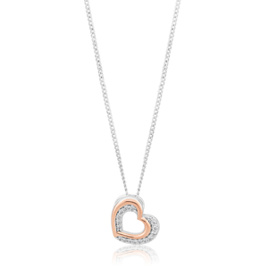 Sterling Silver and Rose Gold Plated Zirconia Double Heart Pendant