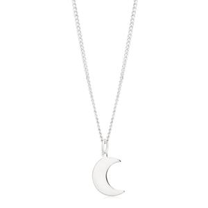 Sterling Silver Plain Crescent Moon Pendant