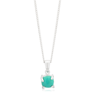 Sterling Silver Created Turquoise Round Pendant