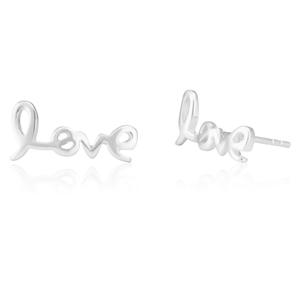 Sterling Silver LOVE Script Studs