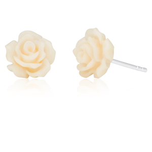 Sterling Silver White Rose Studs