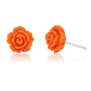 Sterling Silver Peach Rose Studs