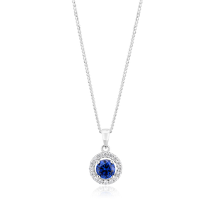 Sterling Silver Tanzanite Coloured Zirconia Halo Pendant