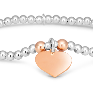 Sterling Silver 2-Tone Bead Bracelet With Heart Charm