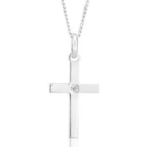 Sterling Silver Cross Pendant 3cm with Centre Zirconia Stone