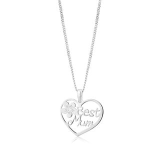 "Sterling Silver "" Best Mum"" Flower Heart Pendant"