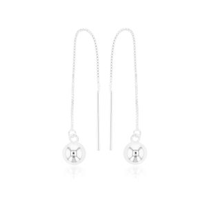 Sterling Silver 7.5mm Ball Threader 90mm Earrings