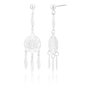 Sterling Silver Lotus Dream Catcher Drop Earrings