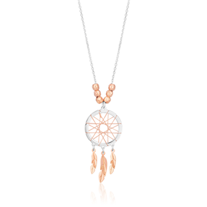 Sterling Silver 2 Tone Dream Catcher Pendant on 45cm chain
