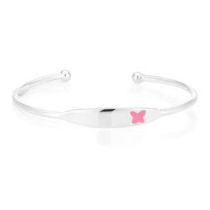 Sterling Silver Pink Butterfly Kids 45mm Bracelet