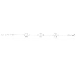 Sterling Silver 3Tree of Life Charm 19cm Bracelet