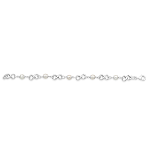 Sterling Silver & Created Pearl Infinity 19cm Bracelet