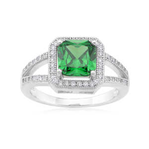 Sterling Silver Green Cushion Cut and White Round Zirconia Ring