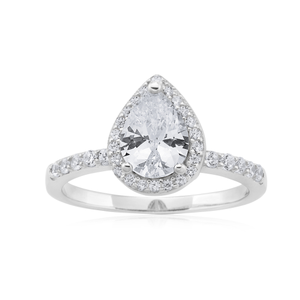 Sterling Silver Zirconia High Rise Pear and Round Channel Set Ring SS
