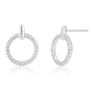Sterling Silver Zirconia Open Circle Bar Drop Studs