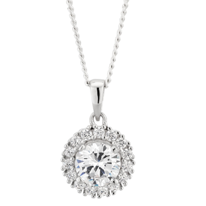 Sterling Silver Zirconia Fancy Round Pendant