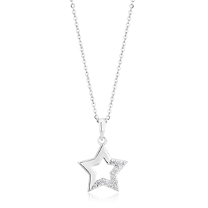 Sterling Silver Zirconia Open Star Pendant on 40cm Chain