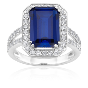 Sterling Silver Created Sapphire and Zirconia Emerald Cut Ring SS