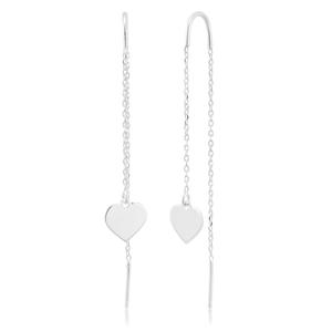 Sterling Silver Heart Drop Threader Earrings