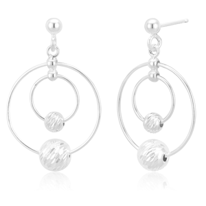Sterling Silver Double Hoop and Ball Stud Drop Earrings
