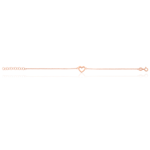 Sterling Silver and Rose Plated 18cm Heart Bracelet