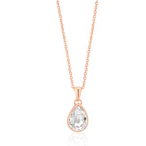 Sterling Silver Rose Gold Plated 43cm Swarovski Champagne Crystal Teardrop Pendant