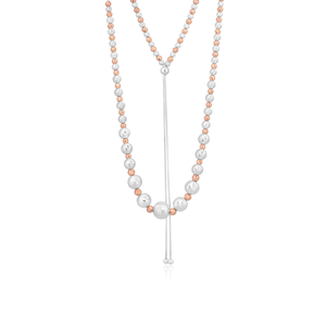 Sterling Silver and Rose Gold Plated Dicut Graduated 75cm Ball Necklet
