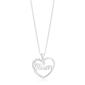 Sterling Silver Diamond Mum Heart Pendant
