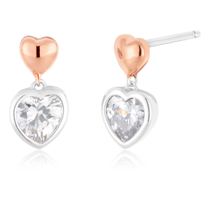 Sterling Silver Rose Gold Hearts With Cubic Zirconia Drop Earrings