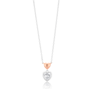 Sterling Silver Rose Gold Hearts With Cubic Zirconia Drop Pendant