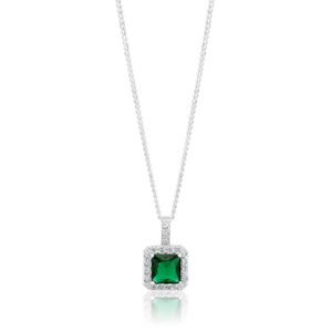 Sterling Silver Green and White Zirconia Pendant