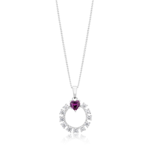 Created Ruby and Zirconia Open Circle Heart Pendant