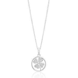 Sterling Silver 4 Leaf Clover Zirconia Pendant