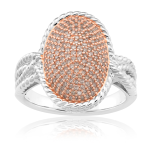 Sterling Silver 0.80 Carat Champagne Diamond Pave Ring With Australian Diamonds