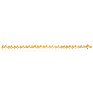 14ct Yellow Gold Plated Sterling Silver 0.20 Carat 19cm Diamond Bracelet