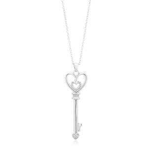 Sterling Silver 5 Diamond Key Pendant On 45cm Chain