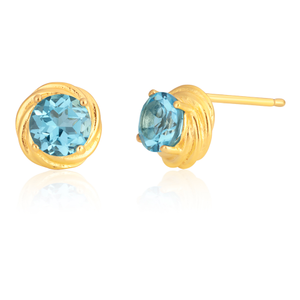 Sterling Silver Gold Plated Swiss Blue Topaz Knot Stud Earrings