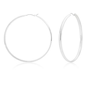 Sterling Silver 60mm Half Round Hoop Earrings