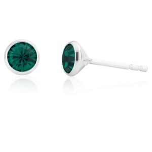 Sterling Silver 5mm Green Zirconia Bezel Stud Earrings