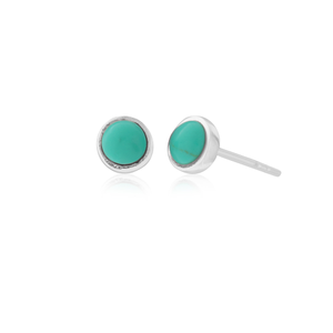 Sterling Silver 5mm Created Turquoise Stud Earrings
