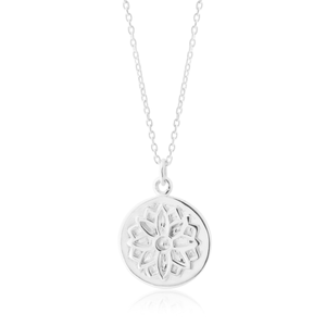 Sterling Silver Flower Disc Pendant on Chain
