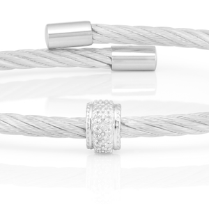 Sterling Silver Gold Plated 08 Points Diamond 3mm Cable Bangle