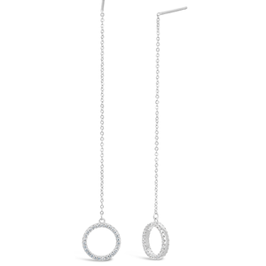 Sterling Silver Zirconia Circle of Life Drop Earrings