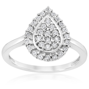 Sterling Silver 10 Points Diamond Dress Ring