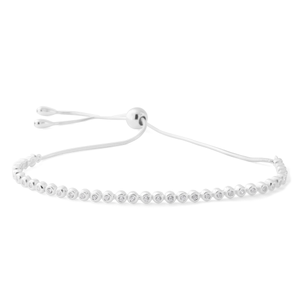Sterling Silver Adjustable Zirconia Slider Bracelet