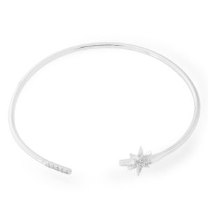 Sterling Silver Zirconia Star Bangle