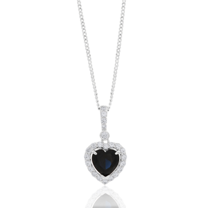 Sterling Silver Created Sapphire and Zirconia Heart Pendant