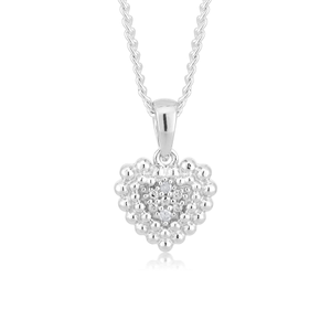 Sterling Silver 0.01 Carat Diamond Heart Pendant with 2 Brilliant Cut Diamonds